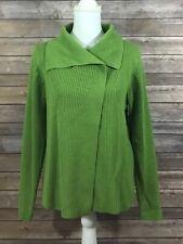 Eileen Fisher Womens 2 Snap Ribbed Merino Wool Sweater Medium Petites Green 230