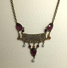 Magnifique Plaqué Or Rose Filigrane Collier violet pierres & Perle d'eau douce