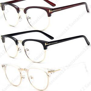Half Frame Semi Rimless Clear Lens  Fashion Glasses Womens Mens
