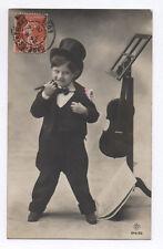 CARTE PHOTO ANCIENNE Musique Musicien Vers 1920 Violon Violoniste Timbre Enfant