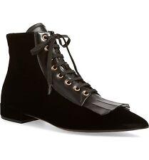 NIB $990+ PRADA KILTIE Lace Up Fringe Ankle Boot Bootie Velvet & Leather 37 - 7
