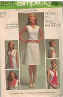 9236 Vintage Simplicity Sewing Pattern Misses Basic Dress Detachable Collar Tie