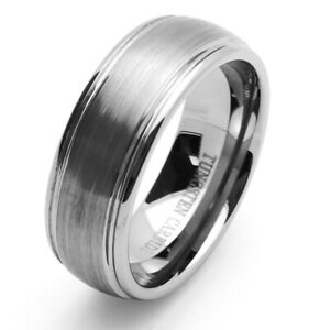 Men 8mm Tungsten Ring Dark Matte Satin Domed Brushed Stepped Edge Band size 9
