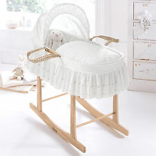 NEW CLAIR DE LUNE BRODERIE ANGLAISE WHITE BABY MOSES BASKET & PINE STAND