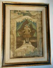 Antique Framed Silkwork Silk Work Needlework Embroidery 17th Century Man