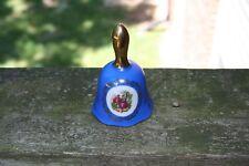 Vintage Porcelain Dinner Bell, Blue and Gold, Victorian Scene, Japan Collectible