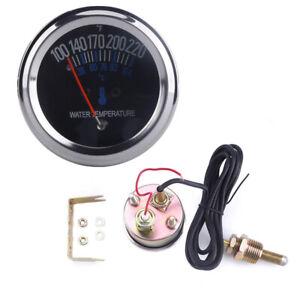 Universal 52mm 12V Kfz Wasser Temperaturanzeige Analog 38~104℃ 10mm Sensor Neu