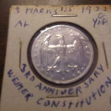 Germany Weimar Republic 3 Mark Coin, 1922, Aluminum, in Extremely Fine condition