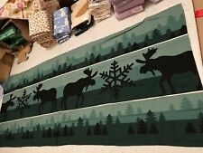 Moose trees 100% cotton flannelette remnant craft material fabric 145x55cm