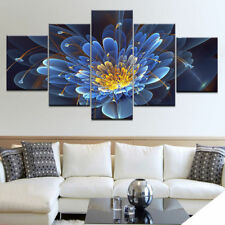 3D Blue Lotus Flower 5 panel canvas Wall Art Home Decor Poster Print Picture