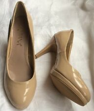 Amiana Womens Beige Patent Pump High Heels Shoes size 7 US Women's 3.5""