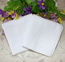 10pcs White Handkerchiefs 100% Cotton Square Soft Washable Hankie Hanky 34cm