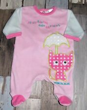 ~ Pyjama en velours rose KIABI fille 1 mois 54cm ~ AUD44