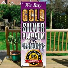 We Buy Gold Sign Banner System Silver Platinum & Diamonds Pawnbroker Recycling