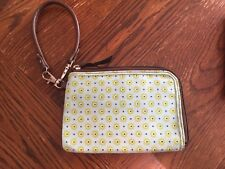 Used Thirty one Wallet Wristlet Zip Around Green Flower Brown