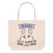 Beware Crazy Badminton Lady Large Beach Tote Bag - Funny Sport