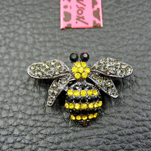 Betsey Johnson Enamel Crystal Cute Bee Insect Brooch Pin
