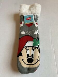 Disney Mickey Mouse Cozy Warmers Slipper Long Socks Christmas Santa Holiday NWT