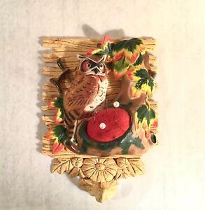 Vintage Pincushion - 3-D Owl in Tree, Hard Plastic & Felt w/Hook for Scissors