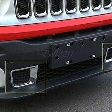 For JEEP RENEGADE 2015-2016 CHROME FRONT BUMPER GRILL AIR VENT OUTLET COVER