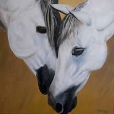 """Horse Oil Painting,Oil Painting, Horses,""""Best Friends"""" (24"""" x 24"""")"""