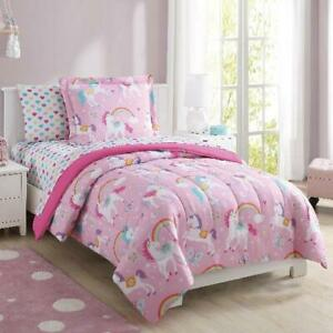 Twin Size Bed-in-a-Bag Coordinated Kids Bedding Set Rainbow Unicorn Design Pink