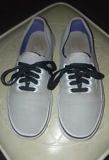Mens size 6.5 Wos 8 Canvas Low Top Lace VANS Off the Wall Skateboard Shoes Gray