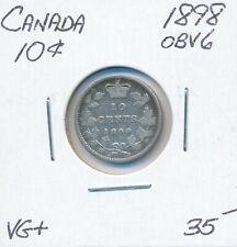 CANADA 10 CENTS VICTORIA 1898 OBV 6 - VG+