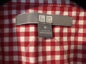 Uniqlo Men Checkers Shirt Red/White New (M)