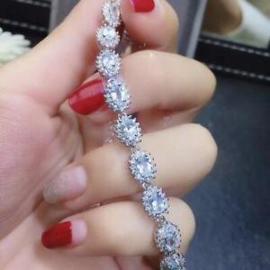 Certified Genuine Natural Aquamarine 925 Sterling Silver Bracelet Women Gift