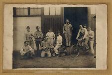 Carte Photo RPPC caserne Borgerhout militaires belges attelage drôle funny m068