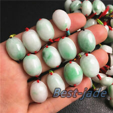 Oval Cab Certified Grade A Green Jadeite Jade Lady female Ring Beads RED String