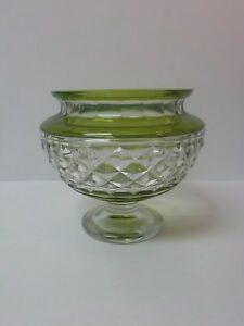 Vintage Lime Green Cut-to-Clear Pedestal Centerpiece / Bowl