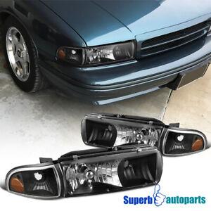For 1994-1996 Chevy Impala Black Headlights Head Lamp w/ Corner Lights