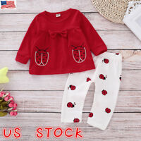 2Pcs Kids Baby Girl Clothes Long Sleeve T-shirt Tops +Pants Leggings Outfits Set