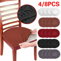 1/4/8PCS Home Dining Chair Seat Covers Soft Removable Elastic Stretch Slipcovers