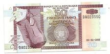 Burundi   50 franchi  2005      FDS  UNC    pick 36 e       lotto 3582