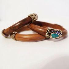 Studio Barse Bracelet Turquoise Brass and Wood Cuff BraceletsSet of 3