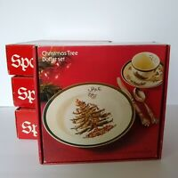 Set of 4 Spode Christmas Tree 3 Piece Buffet China Set Made in England Cup Plate