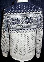 FAT FACE Mens 45% Wool Patterned Beige & Blue Chunky Jumper Size Small