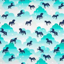 Jersey Stoff Einhorn Mint-Türkis Unicorn Kinderstoffe Jerseystoffe Stoffe Kinder