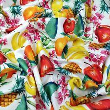 FS296 Lemon Pineapple Banana Pear Fruit Print  Jersey Stretchy Scuba Fabric