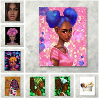 African American Turban Afro Black Girl Abstract Art Wall Decor Painting Canvas