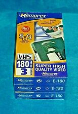 Memorex SHQ VHS Video E-180 Tapes Factory Sealed New Unopened 3 x Pack 540 Mins