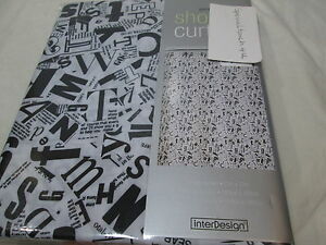 "New InterDesign Inter Desgin GAZETTE Fabric Shower Curtain 72""x72"" Black & White"