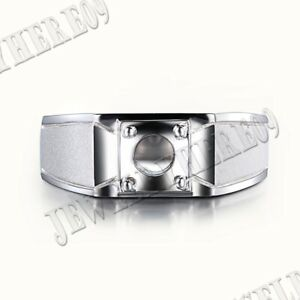Sterling Silver Round Cut 6.5mm Semi Mount Generous Luxurious Jewelry Men's Ring