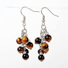 1 Tigers Eye Pair of Platinum Plated Gemstone Dangle Earrings #915