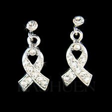 Clear w Swarovski Crystal Lung Cancer Awareness Ribbon Stick Pierced Earrings