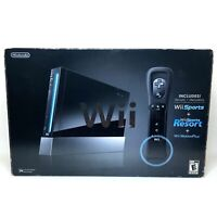 Nintendo Wii Bundle w/ Wii Sports & Wii Sports Resort Black Console RVL-001