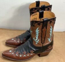 Handmade Lucheese Leather Cowboy Slip On Boots  Women's Size 9 B Made In Mexico
